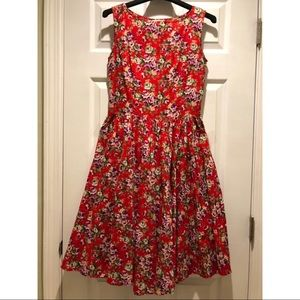 Retro Red Floral Dress